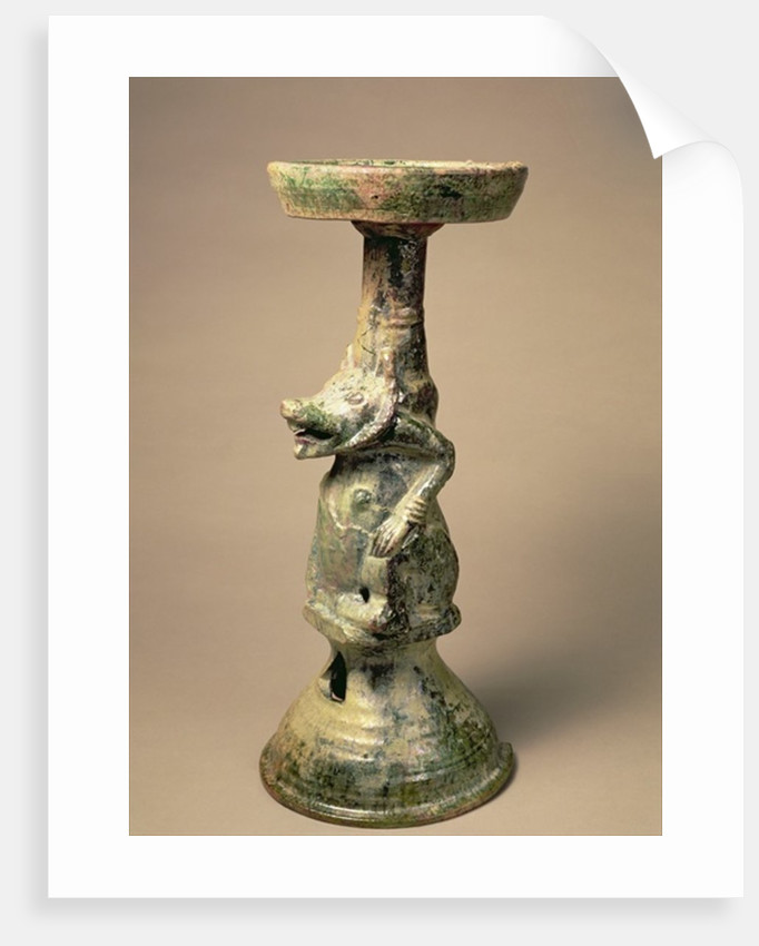Early Chinese pottery lamp, tomb artefact, Han Dynasty by Han Dynasty Chinese School
