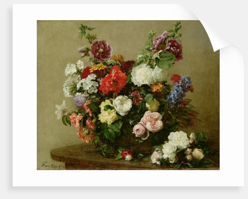 French Roses and Peonies by Ignace Henri Jean Fantin-Latour