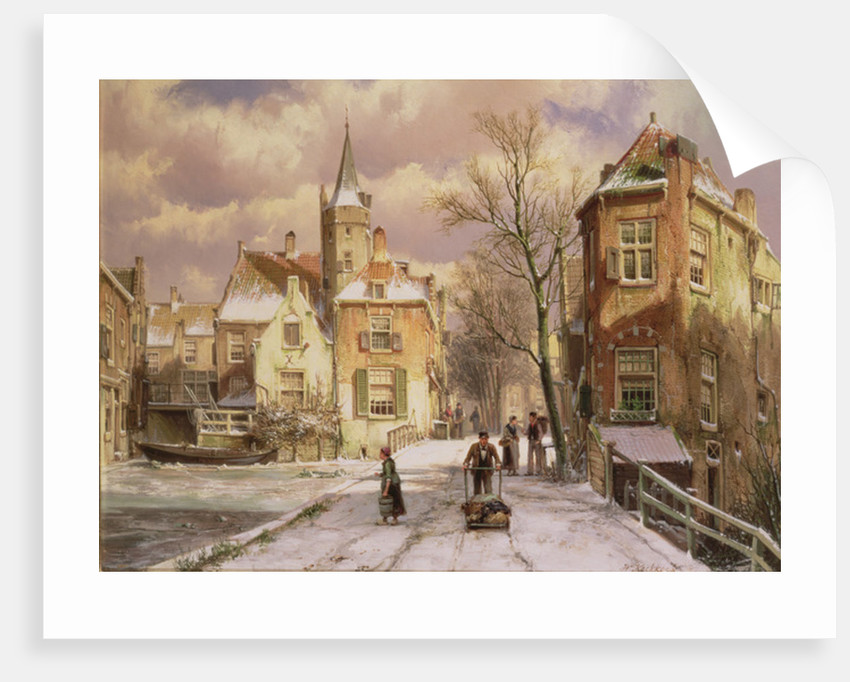 Pushing a Wheelbarrow in the Snow by Willem Koekkoek
