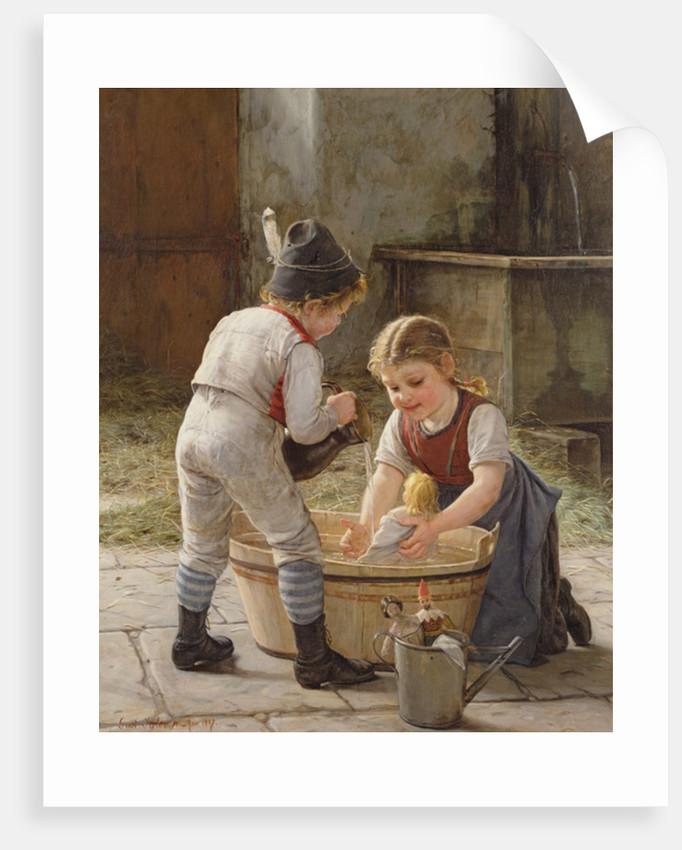 Bathing her Dolls by Gustav Igler