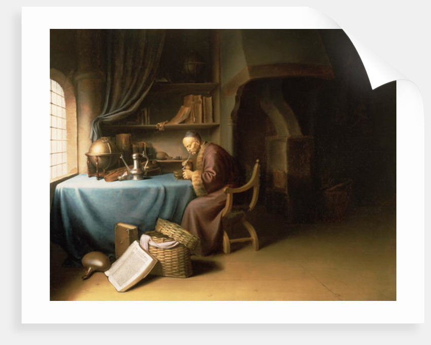 An Old Man Lighting his Pipe in a Study by Gerrit or Gerard Dou