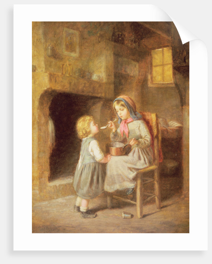 Young Girl Feeding a Toddler by Paul Seignac