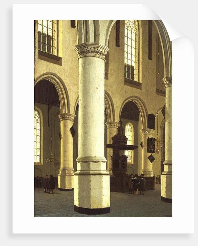 Interior of the Oude Kerk in Delft by Hendrik Cornelisz. van Vliet