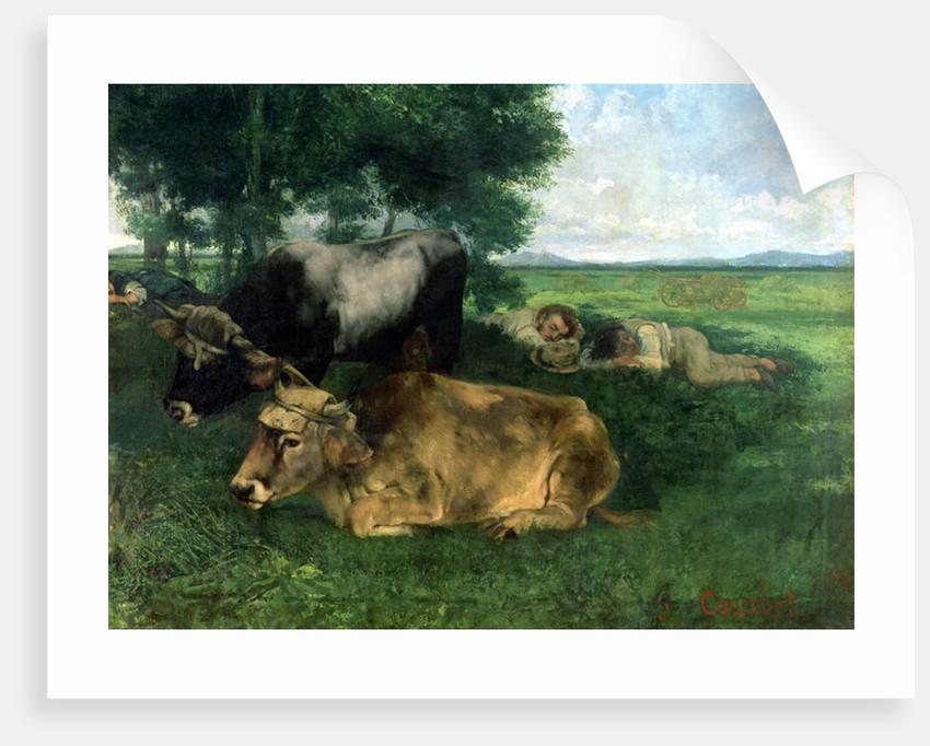 La Siesta Pendant la saison des foins by Gustave Courbet