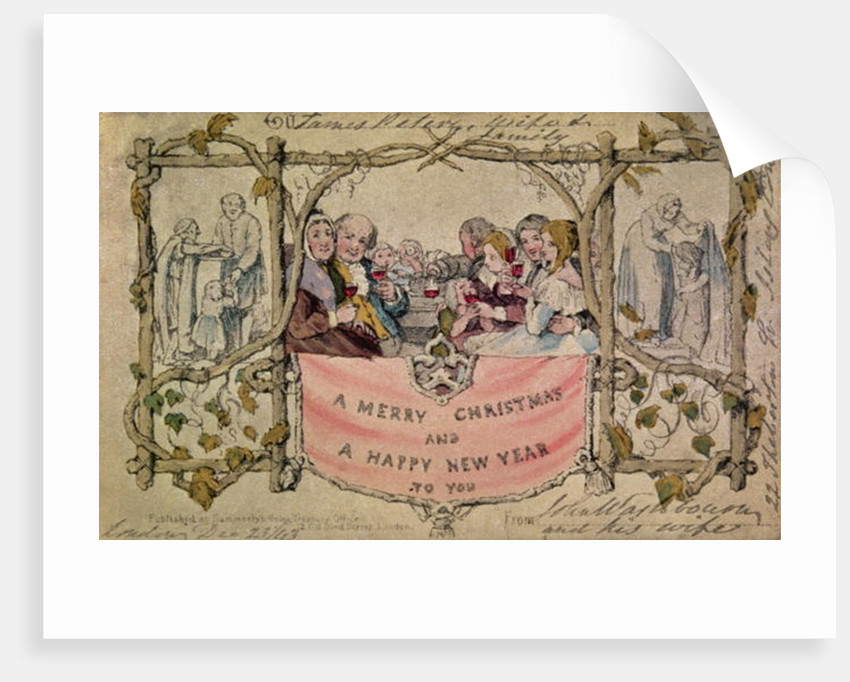 Christmas Card, example of the first known Christmas card being used by John Callcott Horsley