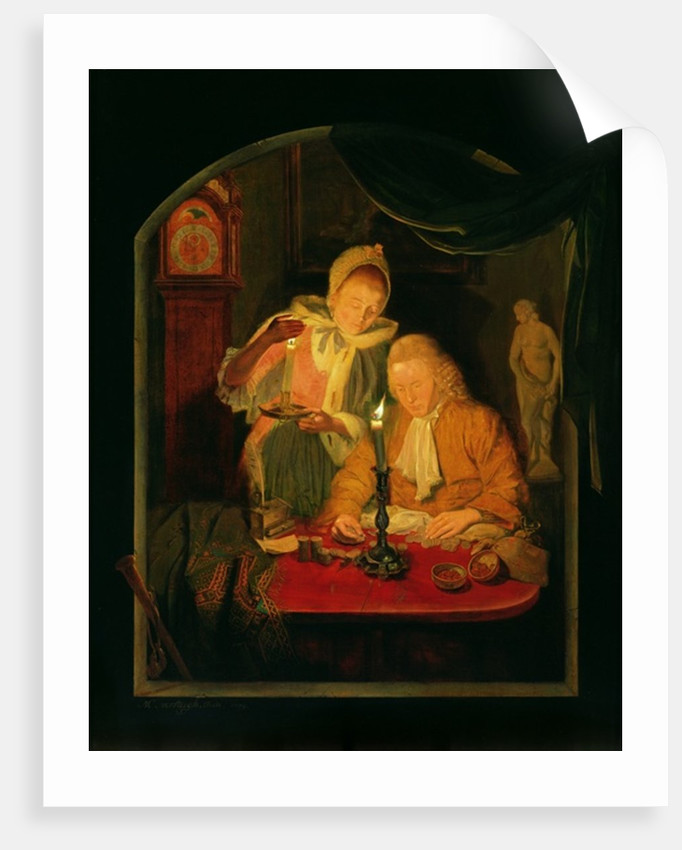 Couple counting money by candlelight by Michiel Versteegh