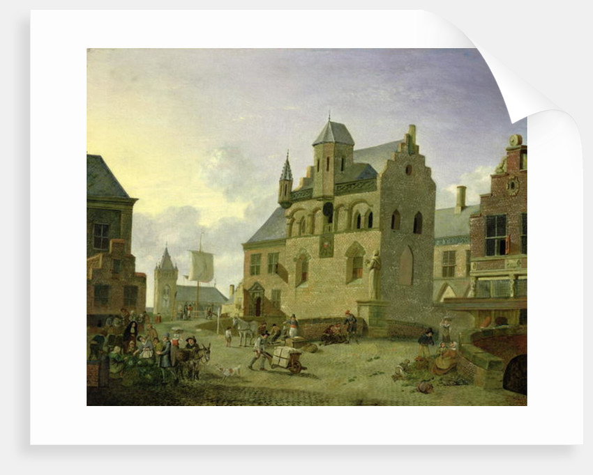 Town square with figures and peasants trading in a market place by Johannes Huibert Prins