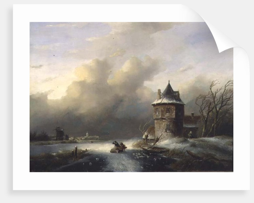 A Couple Crossing the Ice in Windy Weather by Jan Jacob Spohler