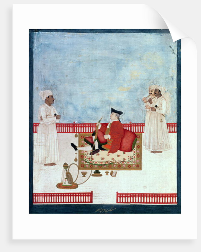 A European Seated on a Terrace with Attendants by Dip Chand