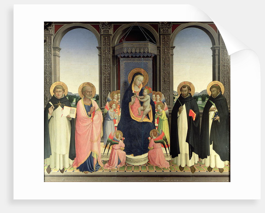 Virgin and Child enthroned with Angels and St. Thomas Aquinas, St. Barnabas, St. Dominic, and St. Peter Martyr, c.1422 by Fra Angelico