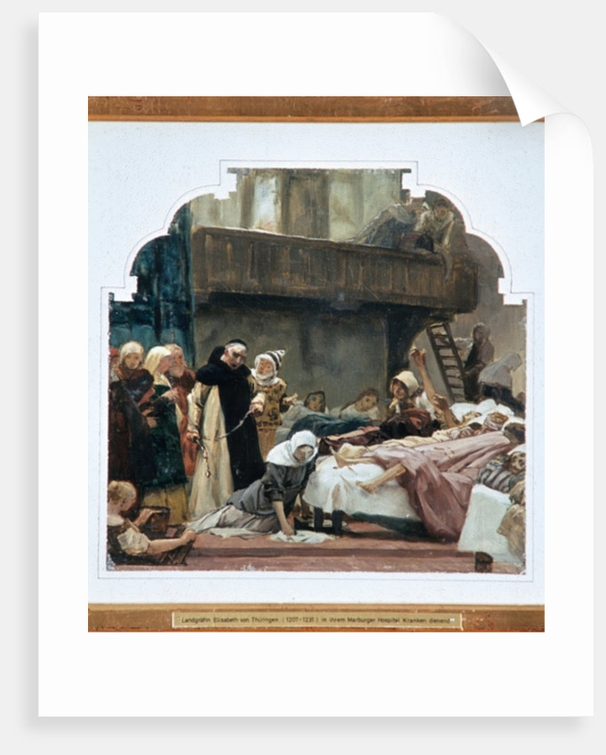 Study for St. Elisabeth and her confessor Conrad of Marburg in 1230 by Peter Johann Theodor Janssen