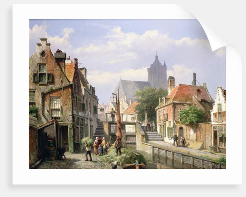 Unloading the Hay Barge, Haarlem by Willem Koekkoek