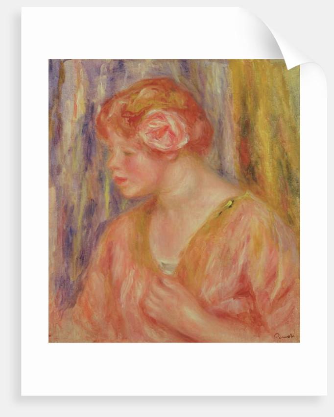 Red Headed Woman with Roses in her Hair by Pierre Auguste Renoir