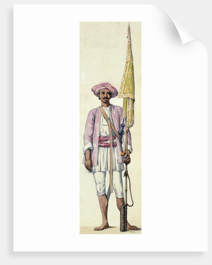 Indian soldier of Tipu Sultan's army, using his rocket as a flagstaff, Madras, 1793-94 by Robert Home