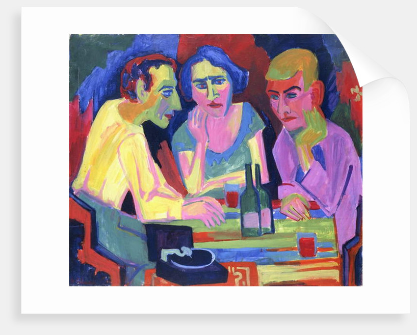 Three People at a Table, 1924 by Hermann Scherer