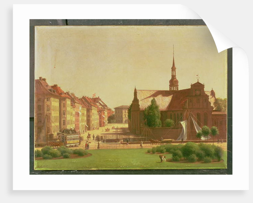 The Palace Square and Holmens Kirke, from a window in Christiansborg Castle, in Copenhagen, 1866 by Carl-Christian-Constantin Hansen