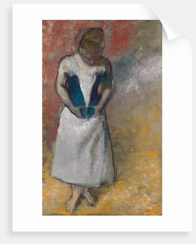 Standing Woman Seen from the Front, Clasping her Corset by Edgar Degas