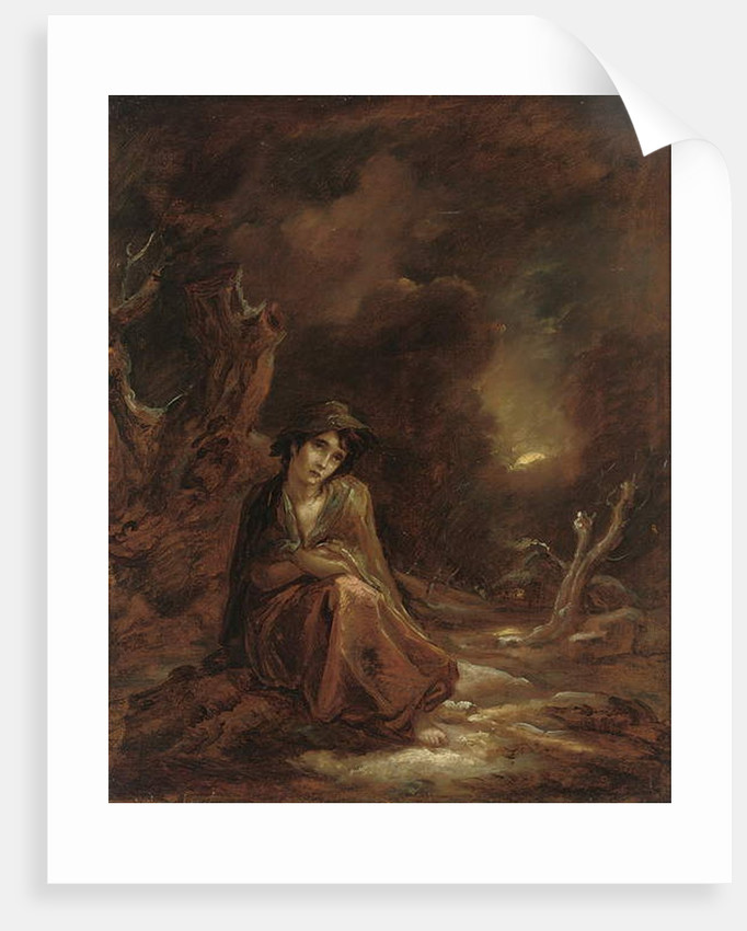 Scenes from William Cowper's 'The Task': a moonlit winter landscape with Crazy Kate at rest on a track, 1785 by Thomas Barker of Bath