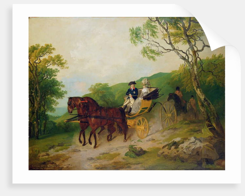 6th Earl and Marquis of Antrim with his wife Letitia driving a phaeton in Glenarm Castle park, Ballymena, Co. Antrim by Francis Wheatley