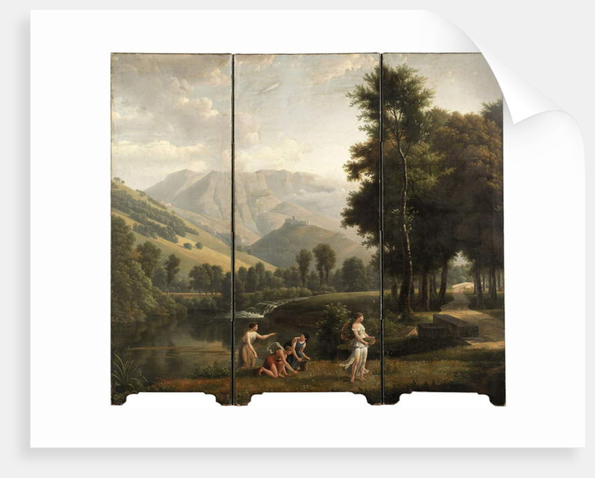 An Arcadian landscape with maidens gathering flowers by a river bank, a hilltop castle beyond, 1801 by Alexandre Hyacinthe Dunouy