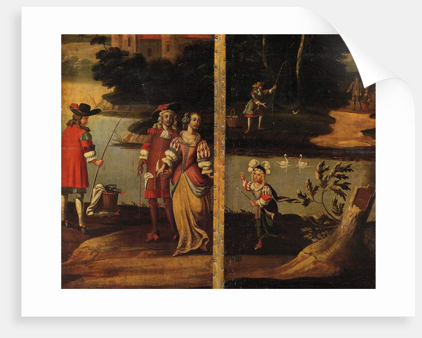 Four-fold double-sided screen, c.1700 by Anglo-Flemish School