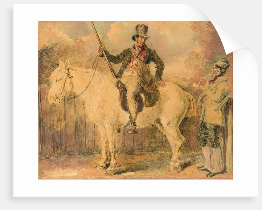 A gamekeeper on a horse and another man conversing by William Henry Hunt