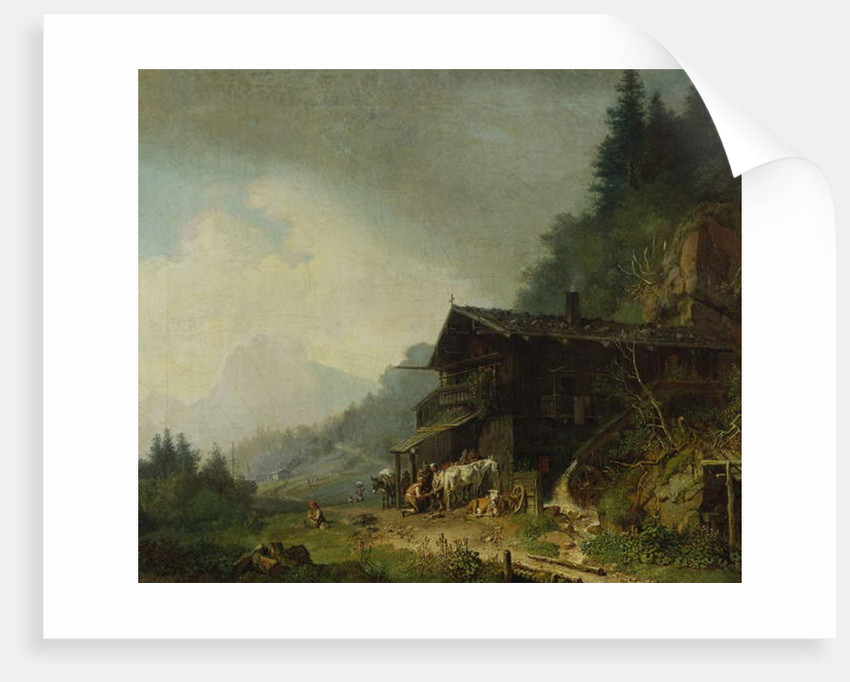 A Forge in the Bavarian Alps by Heinrich Burkel