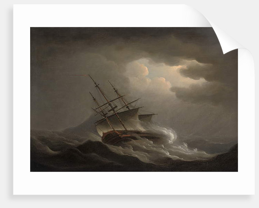 A frigate heeling in an offshore gale by Nicholas Pocock