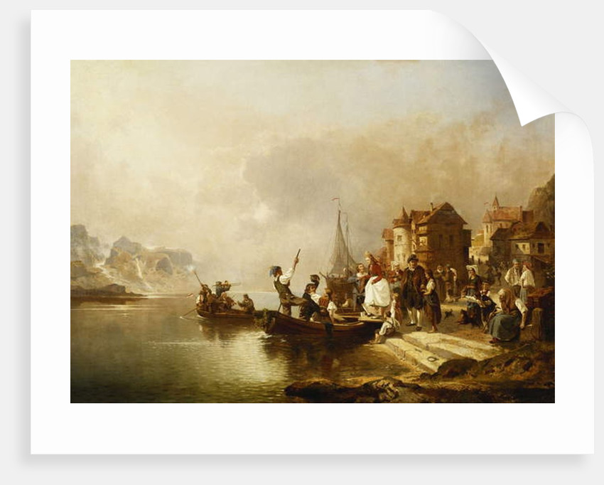 A Wedding Party Boarding a Boat, 1864 by Franz Richard Unterberger