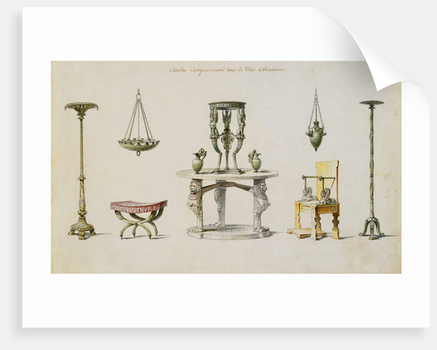 Differents Vases, Furniture, Altars and Tripods Discovered at Herculaneum by Pierre-Adrien Paris