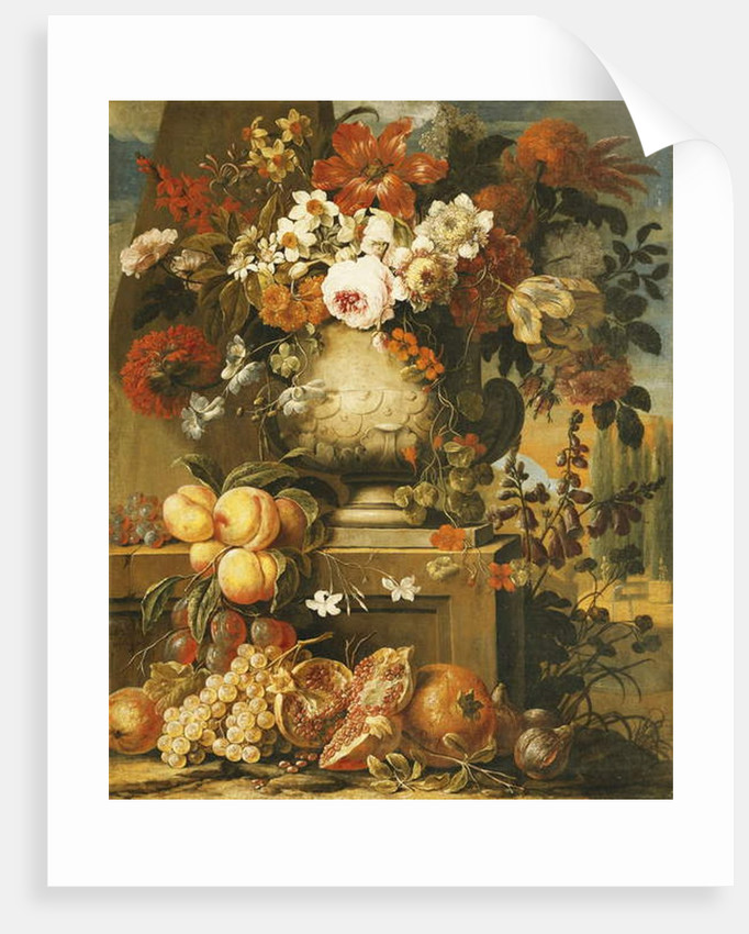 Flowers in Urns on Plinths with Fruit by Gaspar Pieter II Verbruggen