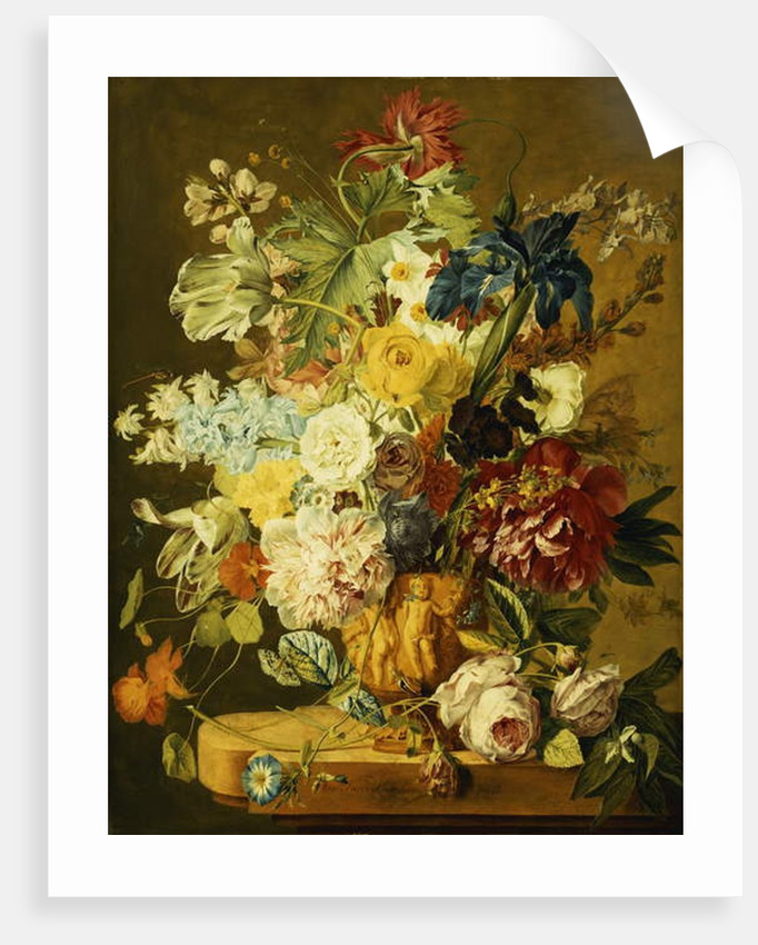 Roses, Peonies, Tulips, Morning Glory, an Iris, Columbine, a Poppy, Jonquils and Other Flowers in a Carved Urn on a Stone Ledge by Jan van Huysum