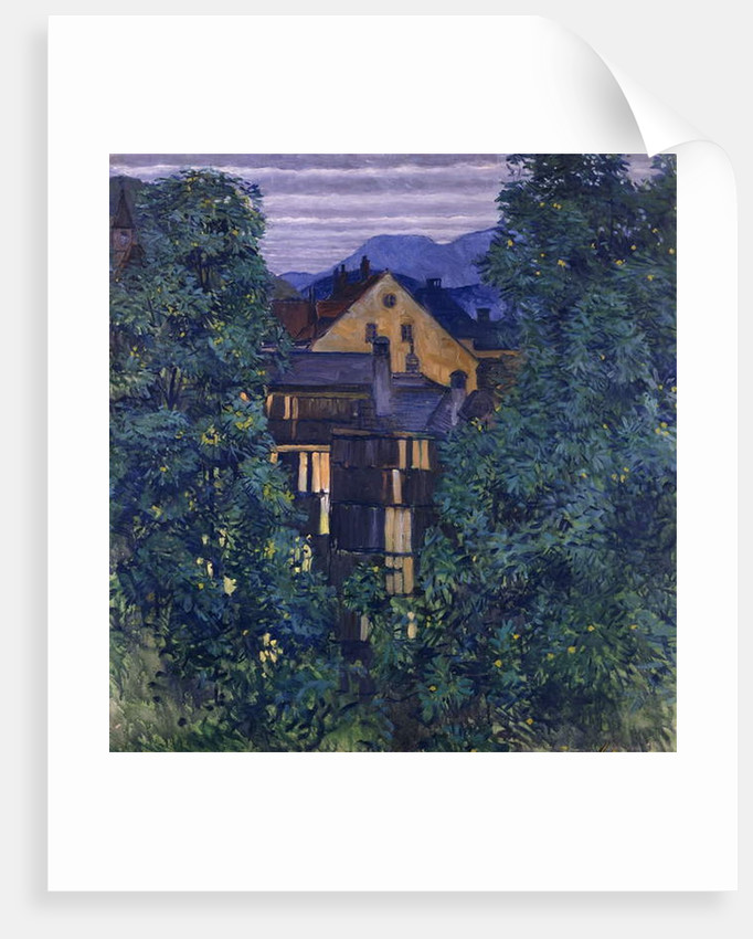Overview of Payerbach, in the background the Rax; Durchblick durch Payerbach,im Hintergrund die Rax, c.1912-1913 by Koloman Moser