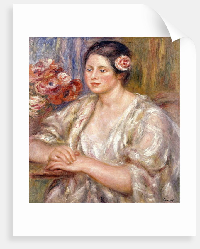 Madeleine in a White Blouse and Bouquet of Flowers, c.1915-1919 by Pierre Auguste Renoir