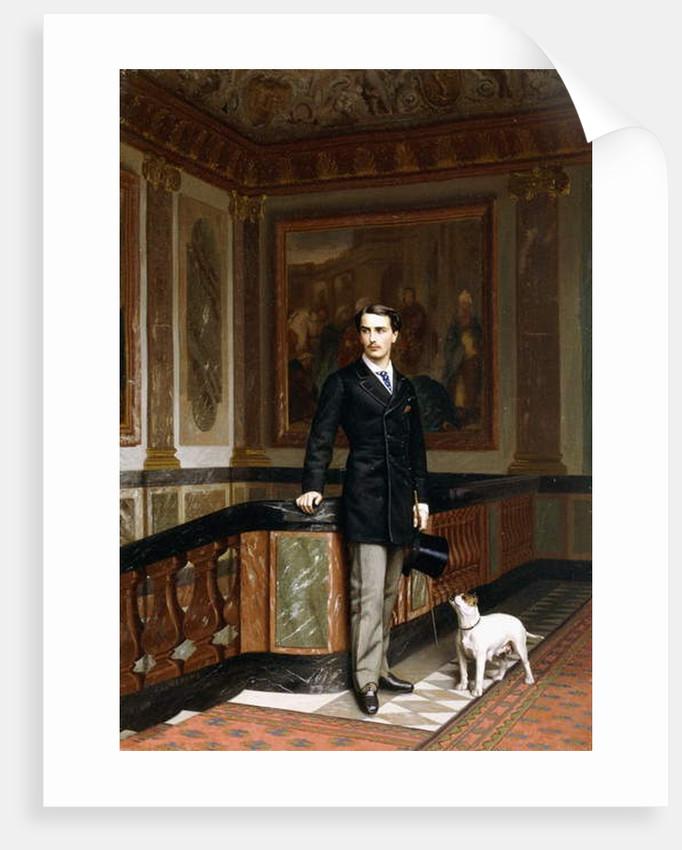 Conte de la Rouchefoucauld Duc de Doudeauville with his Terrier, c.1870s by Jean Leon Gerome