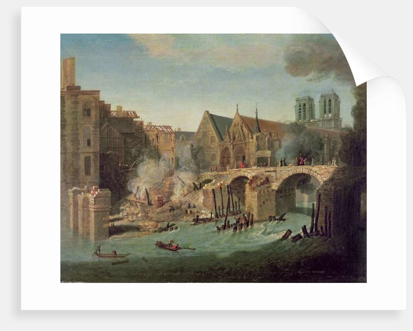 The Burning of the Petit Pont in 1718 by Jean-Baptiste Oudry