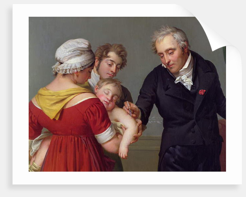 Baron Jean Louis Alibert performing the vaccination against smallpox in the Chateau of Liancourt, c. 1820 by Constant Joseph Desbordes