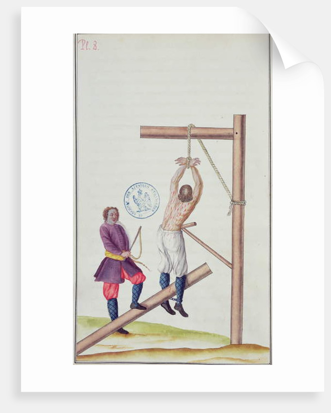 Punishment with a knout while being suspended from a rope by French School
