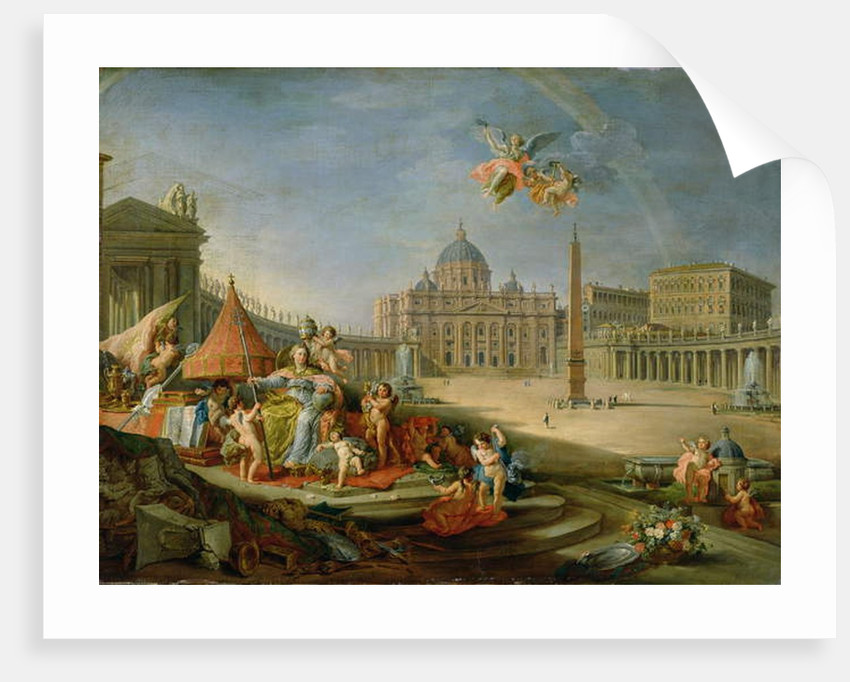 Piazza San Pietro, Rome with an allegory of the Triumph of the Papacy, 1757 by Giovanni Paolo Pannini or Panini