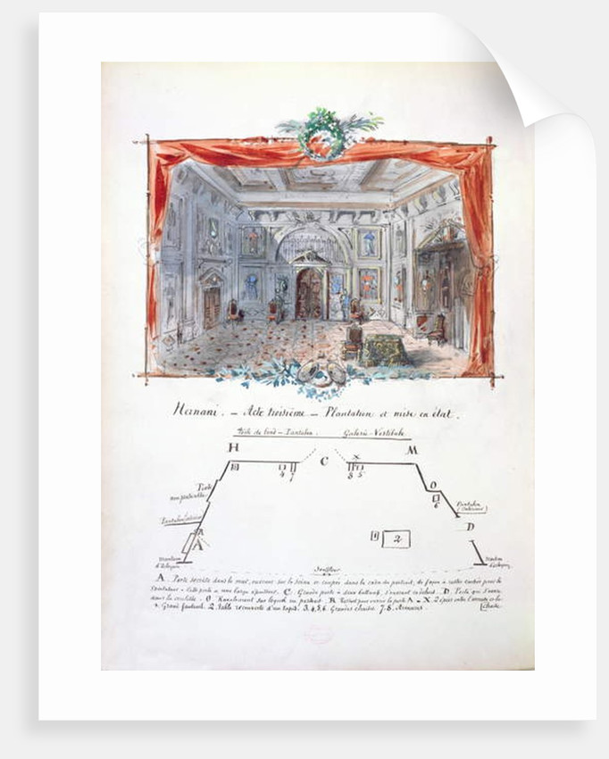 Set design and stage directions for an 1877 production of 'Hernani' by Victor Hugo, 1879 by Valnay Pere et fils