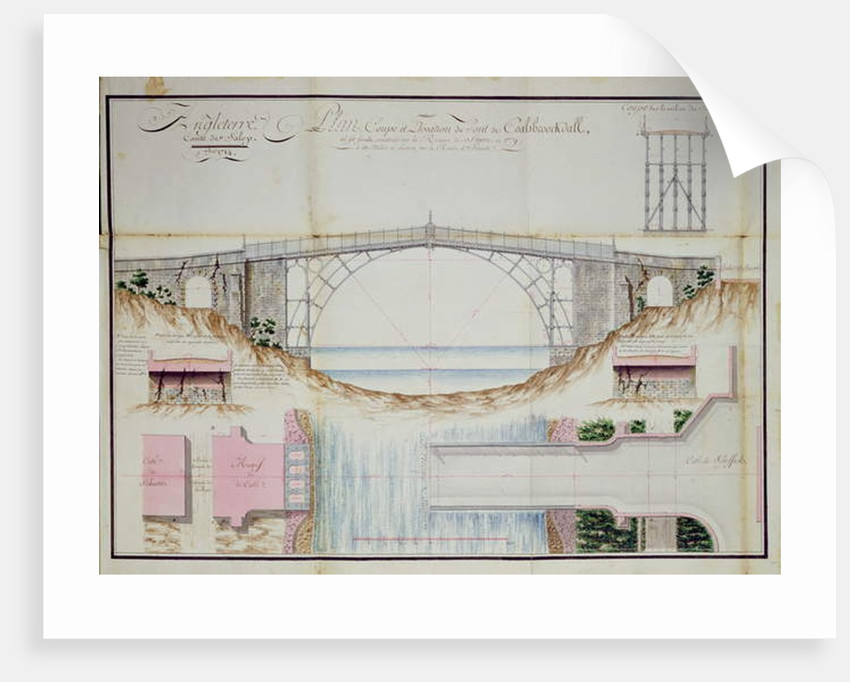 Drawings and Cross section of the Iron Bridge constructed in 1779 at Coalbrookdale, Shropshire, England, 1784 by French School