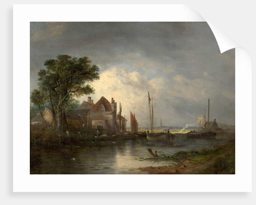 River Scene with Boats, 19th century by William Henry Crome