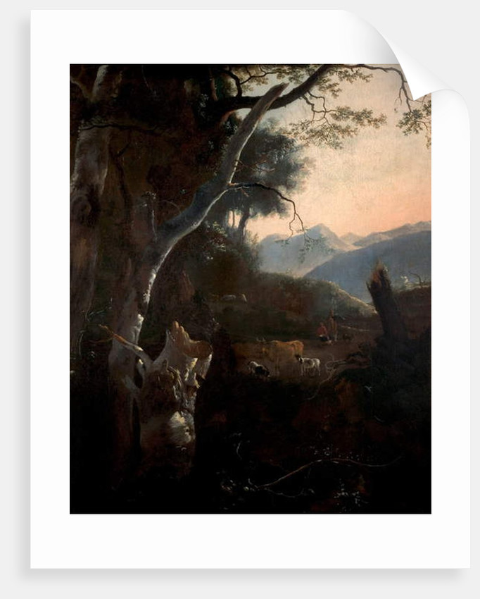 Mountainous Landscape with Peasants, Cows and Goats by Adam Pynacker