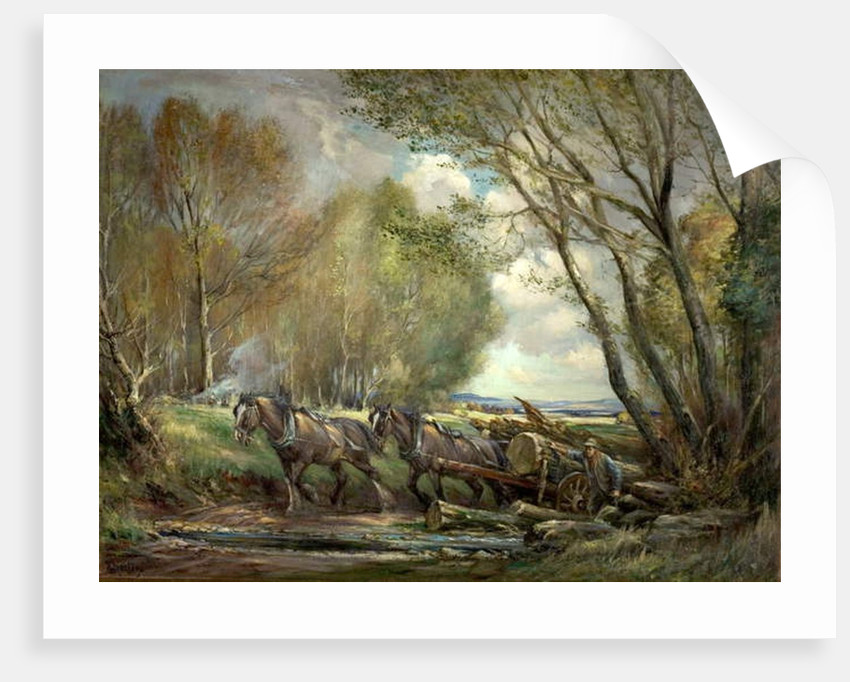 Hauling Timber, Stirlingshire, Scotland by Henry Morley