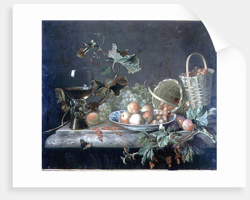 Fruit Piece with Wine Glass, 1692 by Barend or Bernardus van der Meer