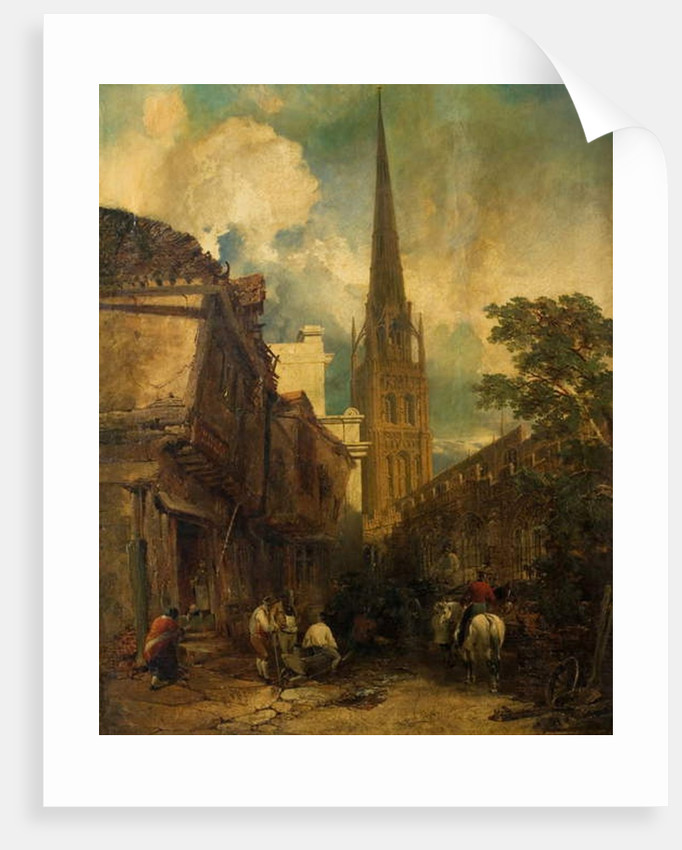 Bayley Lane, with Drapers Hall and St. Michael's Church, Coventry, 1851 by Edmund John Niemann