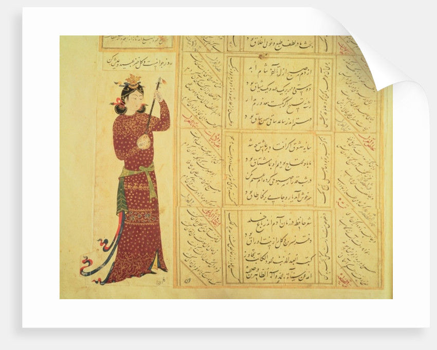 Woman playing the rebab and calligraphy by School Ottoman