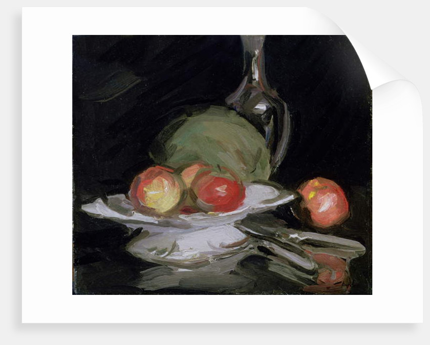 Still Life Bowl of Fruit, Melon and Carafe by George Leslie Hunter