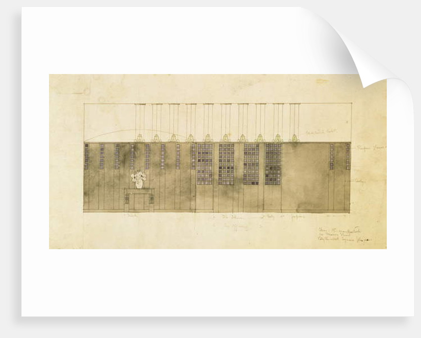 Design for a wall, table and doors, 1905 by Charles Rennie Mackintosh