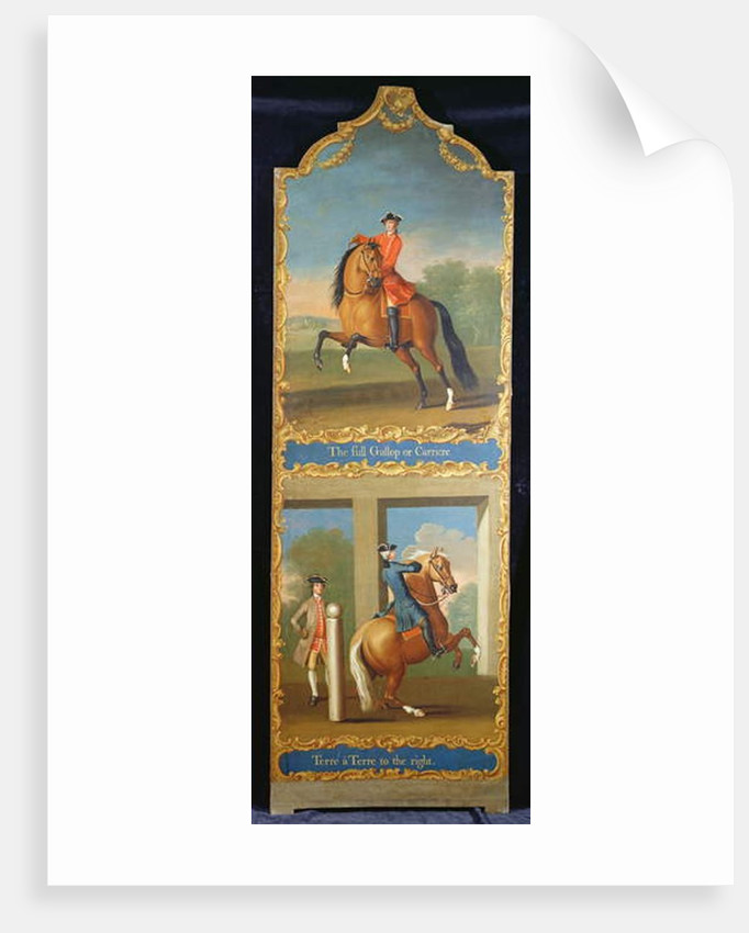 'The Full Gallop or Carriere' and 'Terre a Terre to the right', c.1750 by Thomas of Pall Mall Butler